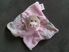 Doudou BENGY chat plat carré rose fleur fleuri