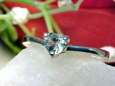 🔥 100% NATURAL AQUAMARINE Ring 5mm Heart Solid 925 SS Size 6.75