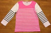 J. Crew Women's Pink, White & Gray Striped 3/4 Sleeve Shirt - Size: Small