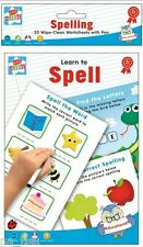 LEARN TO SPELL A5  Wipe Clean Worksheets + PEN Reusable Writing Practise Pad