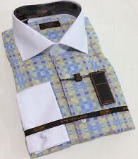 Dress Shirt by Steven Land Spread Collar French Cuffs 16.5 34/35 DW 539 Blue