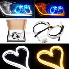 2x 30cm Flexible Tube Car LED Strip DRL Turn Signal Light White Amber DC 12V