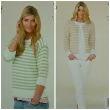 KNITTING PATTERN Ladies Long Sleeve Striped Round Neck Cardigan DK KingCole 3951