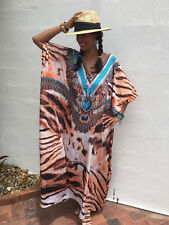 Embellished Kaftans Silk Blend O/Size 14-16-18-20-22-24-26-28 Plus Size Kaftan