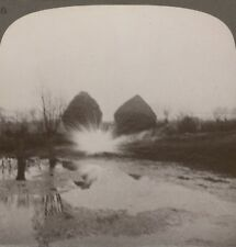 Bursting Star-Shells. The Curse Of Our Lads On Night Raids - WW1 Stereoview