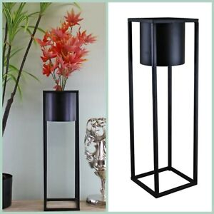 50cm Tall Square Metal Flower Pot on a Stand - Black