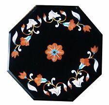 "12"" Semi Precious Stones Inlay Art Black Marble Table Top"