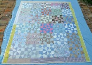 Quilt Vintage Handmade Folk Art Scavenged Pieced Cotton Wall Art Country Large