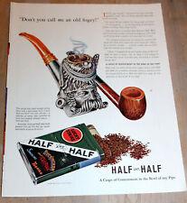 VINTAGE MAGAZINE AD 1941 HALF AND HALF PIPE TOBACCO SILVER MEERSCHAUM BOWL FOGEY