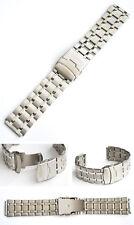 Acciaio Inox Cinturino Orologio da polso 28/30 mm con fermaglio SICUREZZA NUOVO