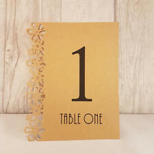 Brown Craft Wedding Table Numbers, 1-15, Laser Floral Design, Standalone NEW