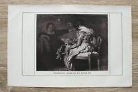 Kunst Druck 1 Blatt 1908/09 Lautenschlägerin nach Gemälde v Prof Friedrich Fehr