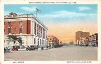 Alabama Al Postcard c1930s TUSCALOOSA Broad Street Looking West Bank PO