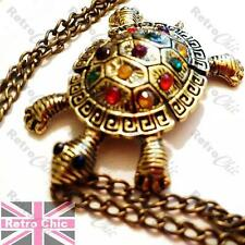 TORTOISE pendant RHINESTONE multi shell NECKLACE vintage brass long chain turtle