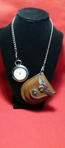 Calvin Hill quartz pocket watch with eagle case and chain 110071