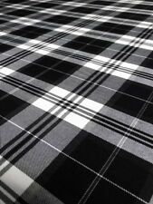 Black / White Poly Cotton Check Tartan Fabric Material - By Metre