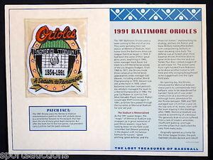 1991 BALTIMORE ORIOLES ~ Willabee & Ward LOST TREASURES BASEBALL TEAM LOGO PATCH