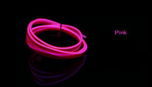 3M Pink Wire Car Vibe Decor Fluorescent Neon Strip Cold Light Panel Gap Mood LED