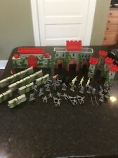 Vintage 1950's Marx Knights Medieval Castle Fort Playset With Horses & Figures
