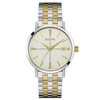Bulova Men's Classic Quartz Two Tone Cream Dial Bracelet 39mm Watch 98B255