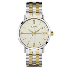 Bulova Men's 98B255 Classic Quartz Two Tone Cream Dial Bracelet 39mm Watch