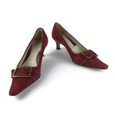 Amalfi Women's Heels Red Suede Leather Buckle Pumps Nordstrom Italy Made Size 6B