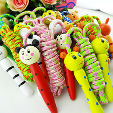 Children Kids Wooden Handle Skipping Rope Animal Colourful Cartoon Zoo Cute