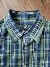 Aigle Mens Size XL Button Down Shirt Blue & Green Plai Long Sleeve 100% Cotton.