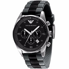 Emporio Armani AR5866 Sportivo Quartz Chronograph Black Silicone Mens Watch