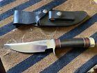 Vintage Randall Model 27 Trailblazer Knife Buffalo Horn Handle Black Sheath