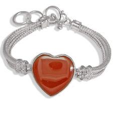 Offerings Sajen 925 Sterling Silver Woven Bracelet with Red Jasper Heart