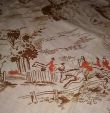 "Feedsack Vintage HORSE ENGLISH RIDERS Hunt Novelty 37"" x 42"" Cotton Fabric"