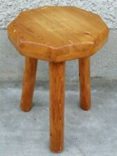 Tabouret tripode design 60 70 style perriand stool pine enneagonal