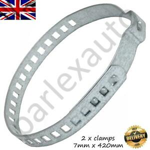 2X 7x420mm UNIVERSAL STAINLESS STEEL CLAMP CLIP FOR DRIVESHAFT CV JOINT BOOT KIT