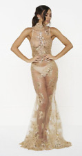 NEW DESIGNER COUTURE GOLD LACE GOWN SHEER MAXI DRESS HONEY COUTURE EMBROIDERED L