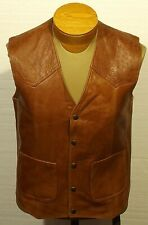 vintage men's leather vest western cowboy rockabilly made in the USA size 36-38