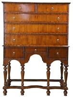 Maitland Smith William & Mary Mahogany Highboy Tall Chest of Drawers on Stand