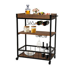 Rustic 3 Tier Rolling Kitchen Cart Serving Table Glass Storage Dining Room Pub