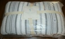 Pottery Barn Pb Kids Yarn Dye Dyed Nautical Stripe Twin Quilt Gray White New!