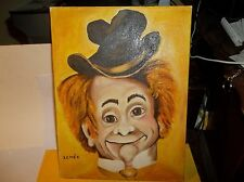 "CLOWN OIL PAINTING , ARTIST LENEE SIGNED PIECE MOUNTED 12"" WOLSEY WOOD CAL"