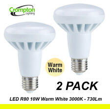 2 x LED 10W Reflector Light Globes Bulbs R80 Screw E27 Warm White 3000K 730Lm