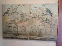 Pair signed Fabrice de VILLENEUVE Giclee Print  Oiseau Cage et Cerise I II COA