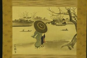 """JAPANESE HANGING SCROLL ART Painting """"Town scape in Edo"""" Asian antique  #E6323"""