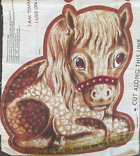Vintage 70s Horse TImmy the Pony fabric panel red bow pillow cut n sew