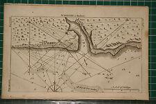 1764 antico stampa ~ rilievo di una mappa Harbour ~ sand-hills basso acqua città