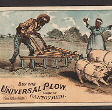1880's Universal Plow Canton OH Black Pig Farmer ethnic Advertising Trade Card