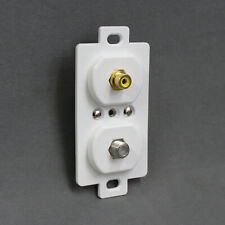 White Coax and RCA Receptacle Outlet Wall Plate for RV Home Trailer Camper