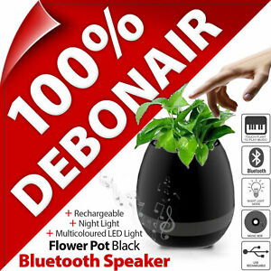 Bluetooth Wireless Speaker USB Rechargeable Plant Pot Flower LED Light Touch UK