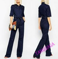Fashion Womens Casual Jeans Pants Denim Overall Slim Work Jumpsuit Trousers New