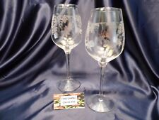 Etched Butterfly Balloon Wine Glass Set of Two